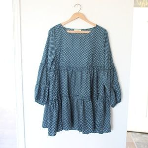 Easel Blue polka dot ruffle tier mini dress S
